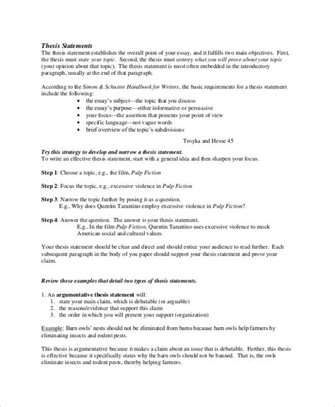 Exles Of A Thesis Statement For An Essay by Sle Thesis Statement 10 Exles In Word Pdf