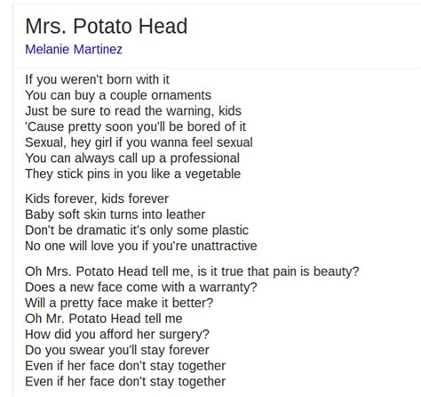 Potato Lyrics by The Pizzagate Does Popstar Melanie Martinez Promote