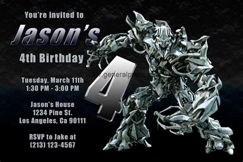 transformers birthday invitations template transformers invitations with megatron and optimus prime