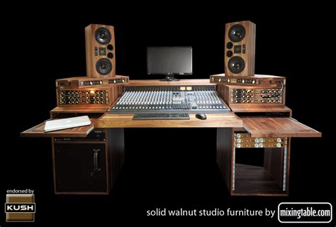19 Inch Walnut Racks For Audio Gear By Mixingtable Com Studio Desk With Rack Mount