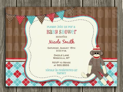 sock monkey baby shower invitation template printable sock monkey baby shower invitation free thank