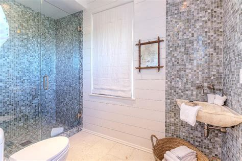 glass mosaic tile shower wall bathroom with gray glass mosaic tiles cottage bathroom