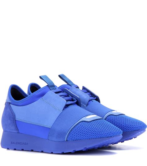 balenciaga blue sneakers balenciaga race runner leather and suede sneakers in blue