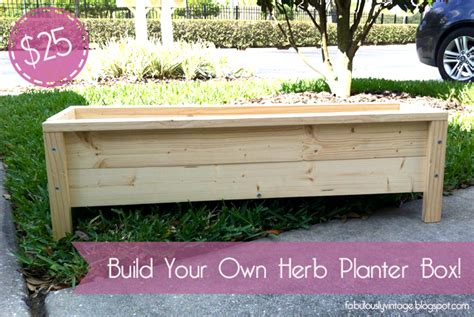 planter box diy fabulously vintage challenge diy herb planter box