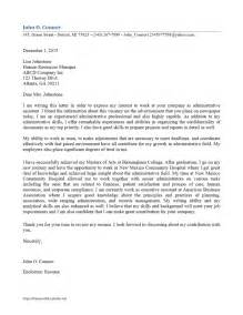 Administrative Cover Letter Exle by Administrative Assistant Cover Letter Freewordtemplates Net