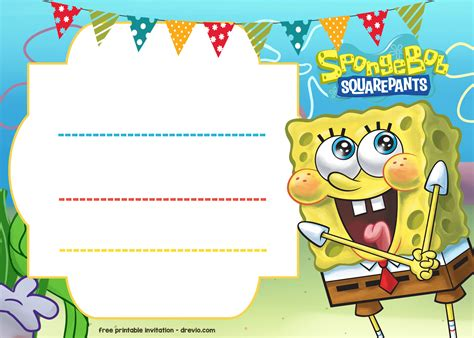 birthday card printer template free spongebob birthday invitation template free