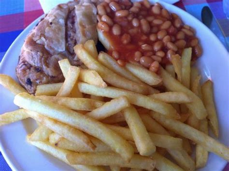 cafe lincoln new hshire pork and apple pasty with chips and beans picture of
