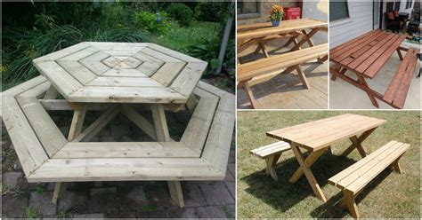 rustic diy picnic tables   entertaining summer
