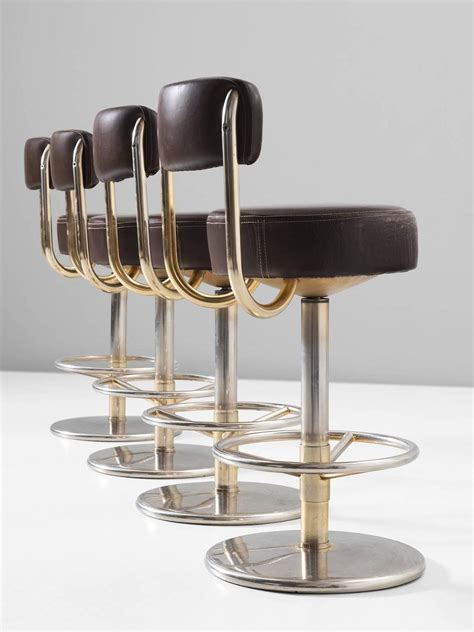 Colored Metal Bar Stools by Set Of Four Bar Stools In Brass Colored Metal And Brown