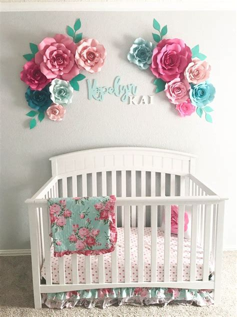 Nursery Decorations Flowers Can Be Purchased At Ruffledblues Etsy Aqua Floral Nursery Paper Flowers