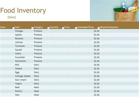 grocery inventory template food inventory food inventory spreadsheet