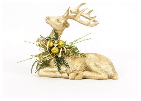 one of a kind gold christmas decorated deer traditional