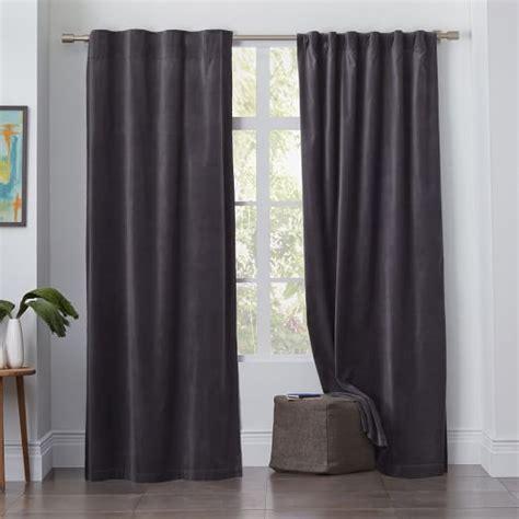 pole pocket curtains velvet pole pocket curtain iron west elm