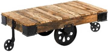 Coffee Table Cart Custom Reproduction Industrial Factory Cart Coffee Table