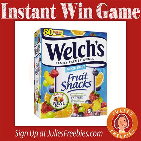 Instant Win Game - welch s 174 fruit snacks instant win game julie s freebies