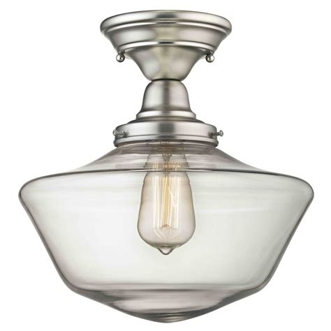 Schoolhouse Semi Flush Ceiling Light 12 Inch Satin Nickel Clear Glass Schoolhouse Semi Flush Ceiling Light Fbs 09 Ga12 Cl