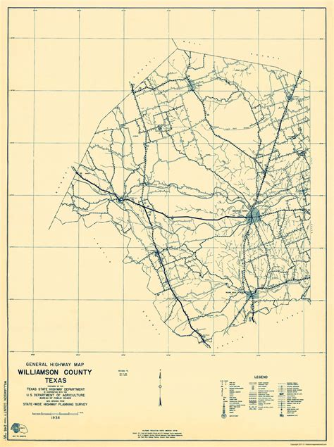 county maps williamson county texas map 1 of 2 by tx st hwy dept 1936