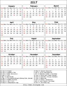 Calendar 2018 With Holidays List 2017 Calendar With Holidays Ssc Indian