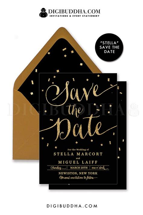 black and gold wedding invitations diy black gold save the date cards invitations