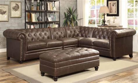 Roy Brown Leather Traditional Sectional With Tufted Rolled Arms   Quality furniture at