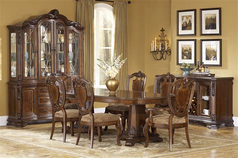 world formal pedestal table dining room