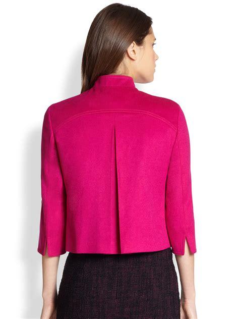 cropped zip jacket akris punto cropped zip front jacket in purple lyst