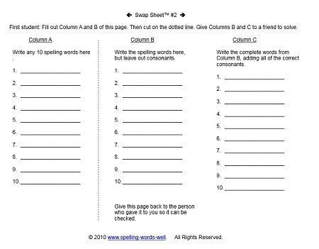 elementary worksheets for spelling practice