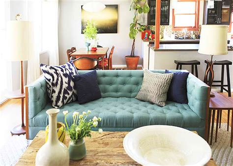 Color Sofas Living Room Turquoise Tufted Sofa Eclectic Living Room Emily Henderson