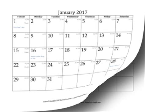 1 year calendar 2017 printable 2017 calendar with day of year and days
