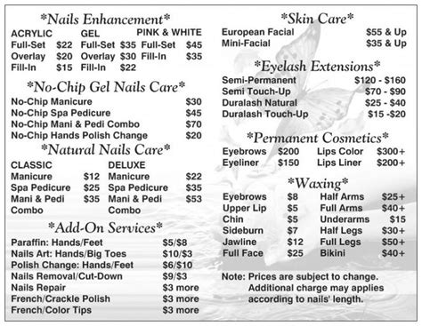 Nail Salon Prices by 42 Best Salon Pricing Images On Lounges Salon