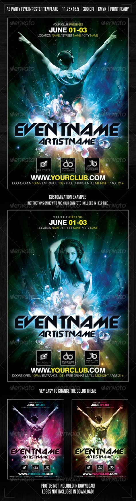 Nightclub Space Party Poster Flyer Template Print Templates Flyers Events Clubs Graphicriver Event Flyer Template