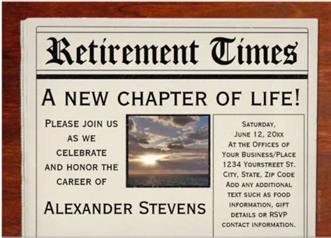 100 newspaper invitation template free retirement