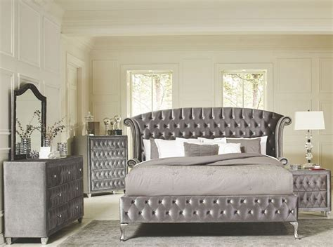 deanna grey velvet king platform bed 20510ek savvy