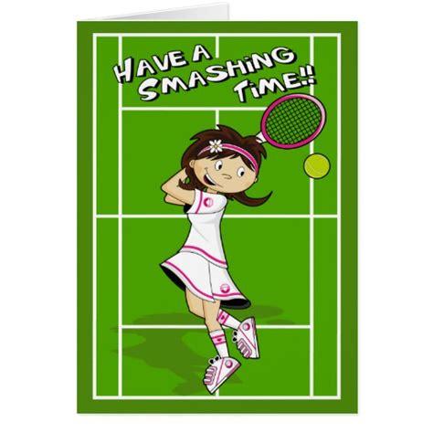 Tennis Birthday Cards Tennis Girl Birthday Card Zazzle