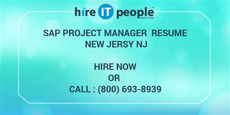 Mba Project Management Nj by Sap Project Manager Resume New Jersy Nj Hire It