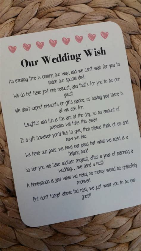poems about gifts wedding poem invitation insert money as a gift by