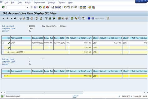 Sap Gl Account Table by Gl Account Balance Display Faglb03 Erp Financials