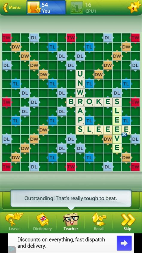scrabble with computer opponent scrabble for android 2018 free