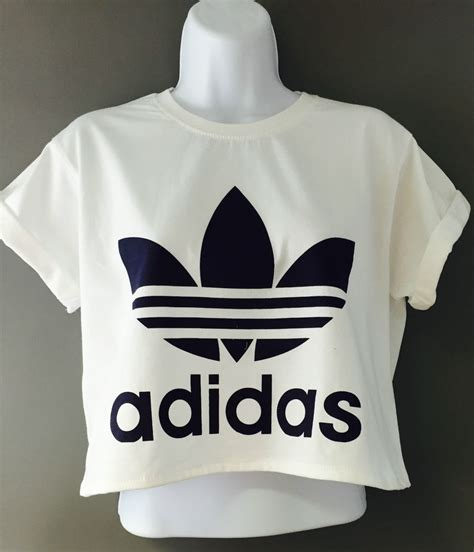 Adidas Top by New Reworked Adidas Originals Crop Top T Shirt White Ibiza