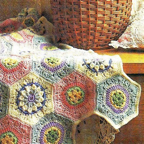 motif afghan pattern 3 vintage hexagon crochet square flower motifs granny square