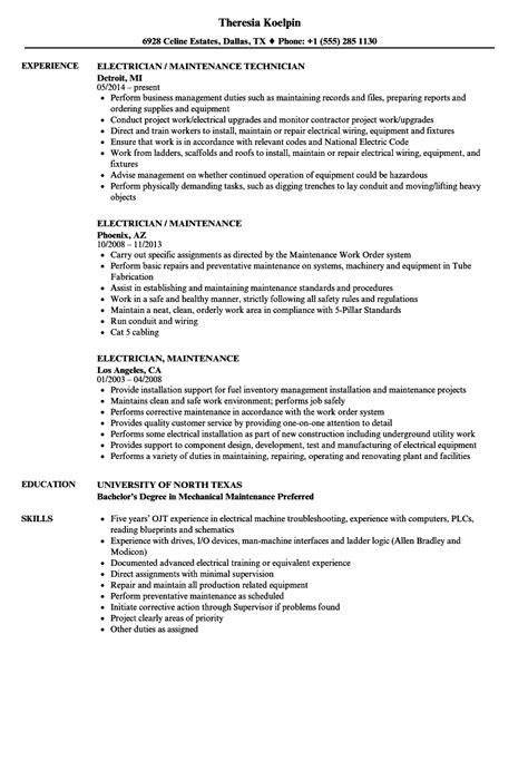 maintenance electrician resume format electrician maintenance resume sles velvet