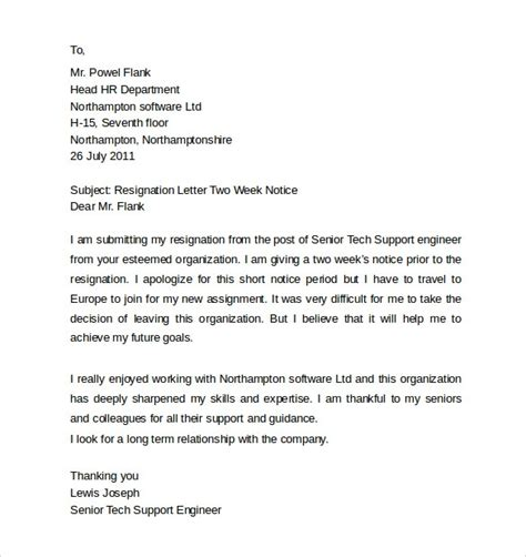 Resignation Letter Format Before Notice Period sle resignation letter 2 week notice resign letter