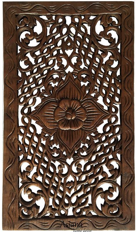 wood carved panel rustic home decor floral teak wood wall hanging in asiana home decor