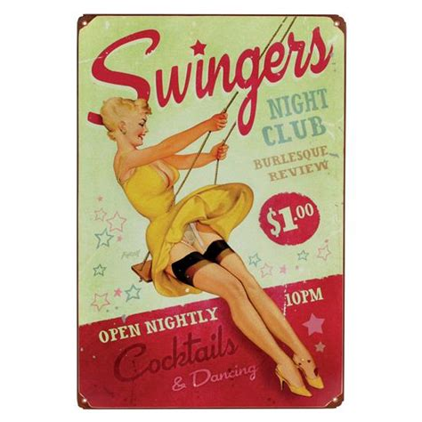 swing ers swingers vintage tin sign