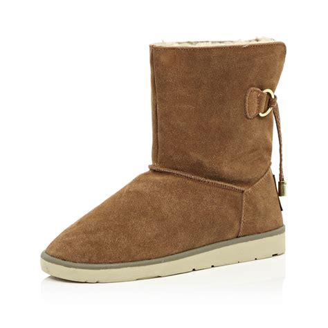 river island boots for lyst river island brown suede faux fur lined ankle boots
