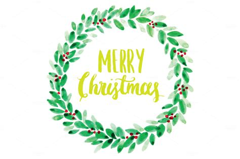watercolor christmas wreath vector illustrations on