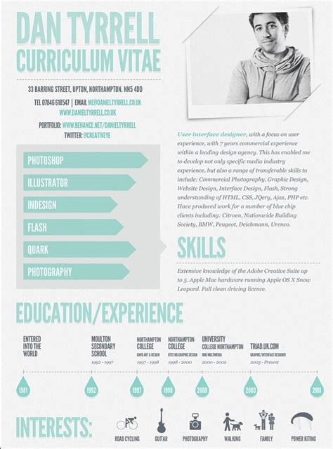 dan tyrrell and his cool cv visual cv s promotion ideas resume and infographics