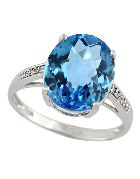 effy 14kt white gold and blue topaz ring with diamonds in