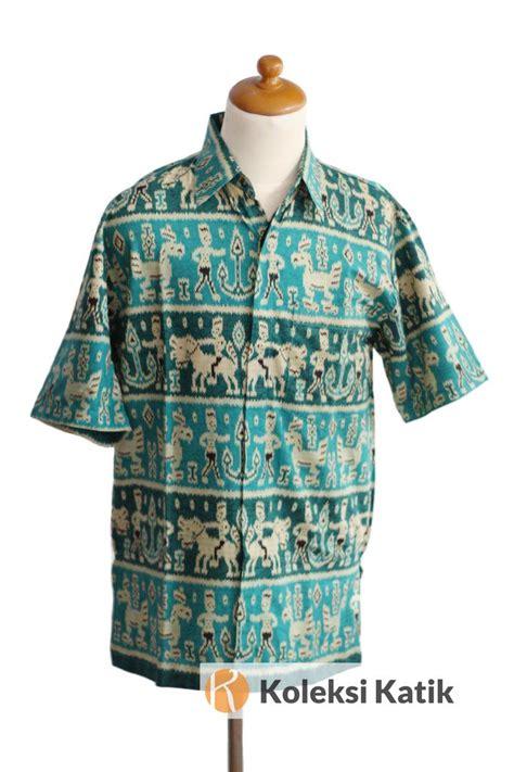 Kemeja Tenun Tangan kemeja batik sumba hijau tosca motif tenun ikat