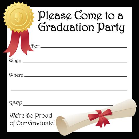 printable invitation card template free printable graduation party invitations party